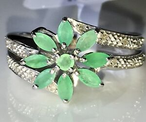 Green Emerald Sterling Silver Ring .65ctw SZ 6 Brand New With Tags $24.99