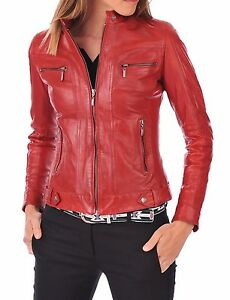 CUSTOM DESIGNER RED REAL SOFT LAMBSKIN LEATHER JACKET COAT WOMEN LADIES GIRLS
