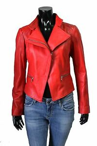 CUSTOM RED REAL LAMBSKIN LEATHER MOTORCYCLE BIKER JACKET WOMEN LADIES GIRLS