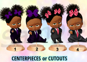 Pre Cut Dark Skin Afro Sassy Boss Baby Girl Pink Centerpiece Stand OR Cutouts
