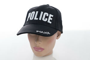 Us Police Cap Hat Baseball Bb with Embroidery Black Cotton