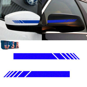 2X Sport Racing Car Rear View Mirror Blue Stripe Reflective Vinyl Decal Sticker