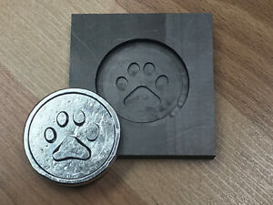 Paw Print Graphite ingot mold for Silver - Gold - casting  Push Mold glass optic