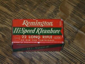 VTG REMINGTON HI-SPEED KLEANBORE 22 long AMMO BOX empty w crtgs NOS Heavy