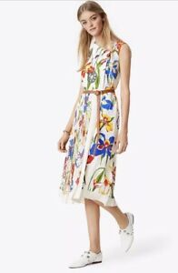 Tory Burch Carine Midi Dress Floral Iris SPRING Belted RUNWAY M L Size 10 $798