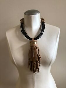 NWOT GIULIA BOCCAFOGLI Italian Leather Tassel Necklace   BlackBrown