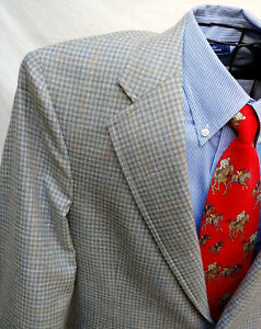JOS A BANKS GRAY HOUNDSTOOTH CHECK BLAZER 42R SPORT COAT SUMMER JACKET