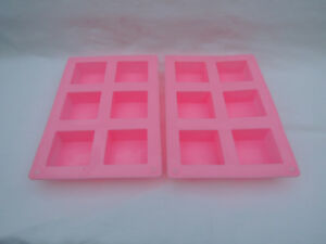 2-Pack 6 Cavity Square Silicone Soap Wax Mold Flexible Durable Nontoxic