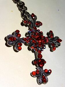 Rhinestones Cross Pendant Necklace  Brooch Fashion Costume Jewelry by JANUS New