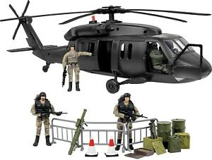 Military Black Hawk Attack Combat Helicopter 30 Piece Play Set w 3 soldiers Toy