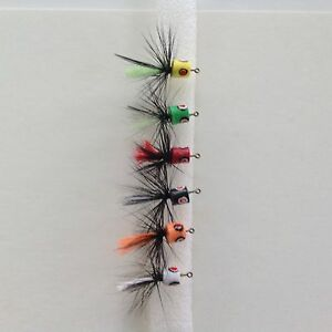 6 Fly Fishing Foam Poppers Flies Spiders # 10 Hooks Trout Panfish Bluegill Bass $10.99