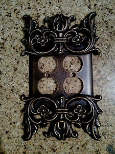 Metal Double Outlet Plate, Cover, Old World, Handmade, Tuscan, Medieval, Fleur