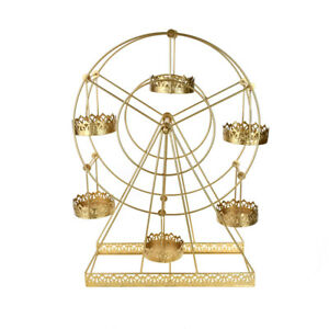 Large Metal Wire Carnival Ferris Wheel Cupcake Stand Gold 22-Inch