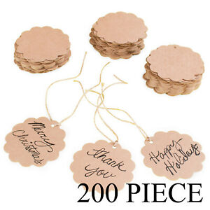 Brown Craft Scalloped Paper Gift Label Tag Jute Twines String Birthday Party