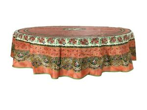 Provencal 100% Coated Tablecloth Marat Avignon Tradition Rust 71quot; Made France