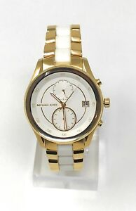 MICHAEL KORS Women's Briar Gold Tone White Silicone Bracelet Watch MK6466