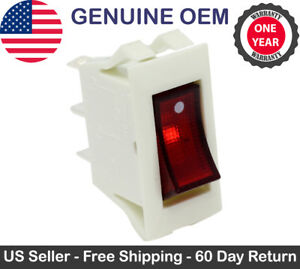 Zing Ear ZE-215 Red Lighted Rocker Switch ON OFF 3 Prong Snap-in 15A 120V White