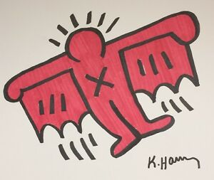 ORIGINAL KEITH HARING HAND-DRAWN AND SIGNED INK * FLYING DEVIL * ON CARDSTOCK