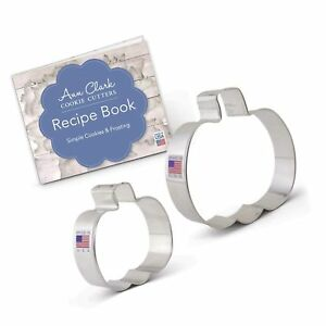 Fall/Halloween Pumpkin Cookie Cutter Set with Recipe Book - 2 piece - 3 and 4...