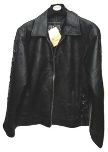 Women Plus Size Genuine Leather Black Jacket Size 1X2X