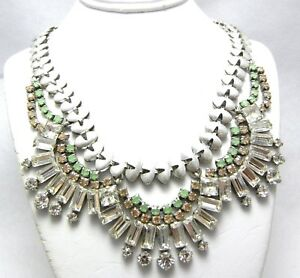 Stella & Dot Green Teal & Clear Crystal Silver Statement 19
