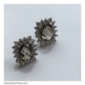 Smoky Quartz 925 Sterling Silver Statement Cocktail Stud Earrings