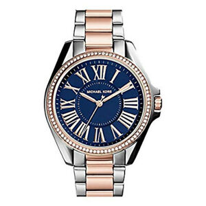100% New Michael Kors MK6185 Kacie Two-Tone Blue Dial Bracelet Women's Watch