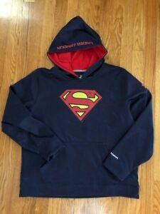 Boys Under Armour Superman Hoodie Sweatshirt Size YXL Navy Blue - Pre-Owned