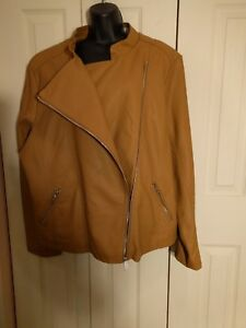NEW Metaphor Women's Plus Moto Brown Faux Leather Jacket Size:  2X NWT Ret.$70