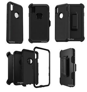 BLACK Case Cover For iPhone XXRXS Belt Fit Otterbox Defender+ 9H Glass Screen