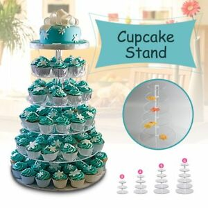 Clear White Acrylic Round Cup Cake Cupcake Stand Supplies Display Tower Decors