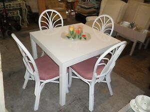 white table amp; 4 white Rattan chairs with red amp; White fabric on seats