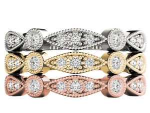 14K White Yellow or Rose Gold Stackable Diamond Rings .16 Carat Diamond Each