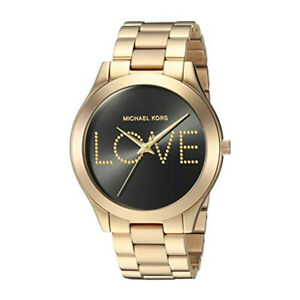 100% New Michael Kors MK3803 Slim Runway Love Gold Tone Black Dial Women's Watch