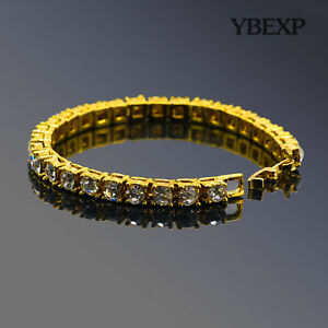 ATOP Men#x27;s 1Row Gold Plated Silver Black Lab Diamond Tennis Bracelet