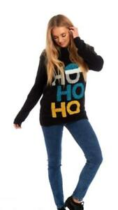Womens Christmas Jumper 3D Ho Ho Ho Hat XMAS Ladies Knitted Sweater Long Sleeves
