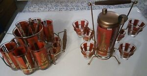 BAR SETBARWARE 23 PIECE SET 1950'S COCKTAIL SHAKER SET & GLASSES GOLD TRIM