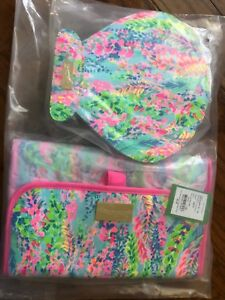 Lilly Pulitzer Hanging Cosmetic Case And Shell Brush Case Travel Cosmetic Set