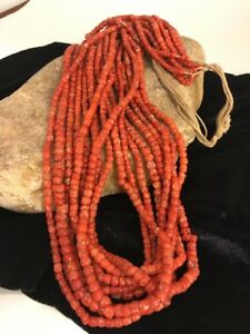"Navajo Vintage Authentic Coral 9 Strand Graduated Necklace Gift 30"" Old Pawn"