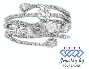Solid Real Natural Diamond 14K White Gold 1.18CT Fancy Designer Ring For Women