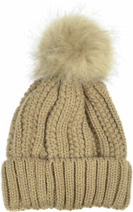 Aprileo Women Rib Knitted Beanie Faux Fur PomPom Hat Foldover Lined