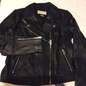 NWT MICHAEL KORS WOMENS BLACK LEATHER MOTO JACKET SZ M $450