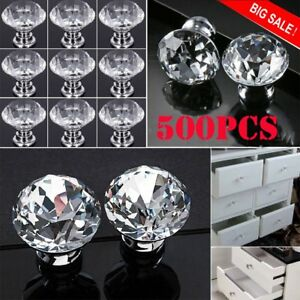 NEW 500X Crystal Glass Cabinet Knob Diamond Shape Drawer Cupboard Handle Pull MY