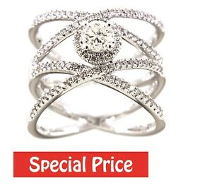 Solid Real Natural Diamond 14K White Gold 1.06CT Fancy Designer Ring Jewelry