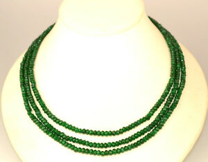GENUINE EMERALD FACETED BEAD TRIPLE STRAND NECKLACE 17.25 LONG W FANCY CLASP $250.00