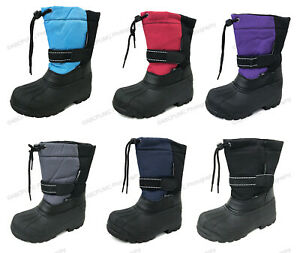 Boys Girls Snow Boots Winter Waterproof Fur Lined Ski Childrens Youth Size:4.5 7