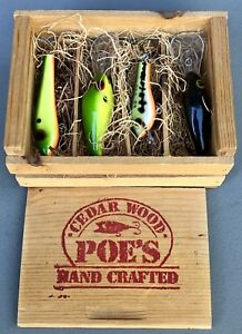 Poe's Hand Crafted Wooden Lures Set in Collectable Wooden Crate Box with Lid