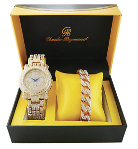 Gold Hip Hop Watch & Bracelet. Cubic Diamonds Bust Down Watch Bracelet Set.