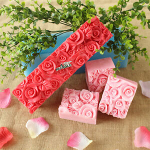 Rose Flower Silicone Soap Molds Rectangle Soap Mold Loaf Cake Tools Chocolate $15.80