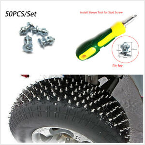 Durable 50Pcs Car Winter Tire Studs Tip Wheel Road Grip Screw+Installation Tool